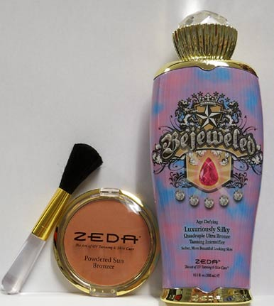 Bejeweled Tanning Lotion and Bronzing Powder/brush by Zeda