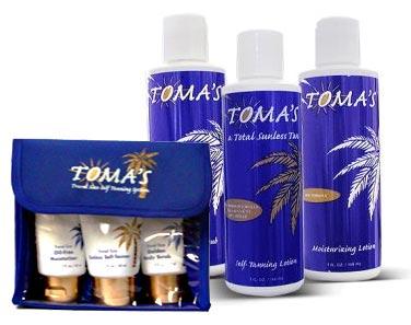 TOMA'S 3 pc. full size sunless kit & 3 pc. sunless travel size kit