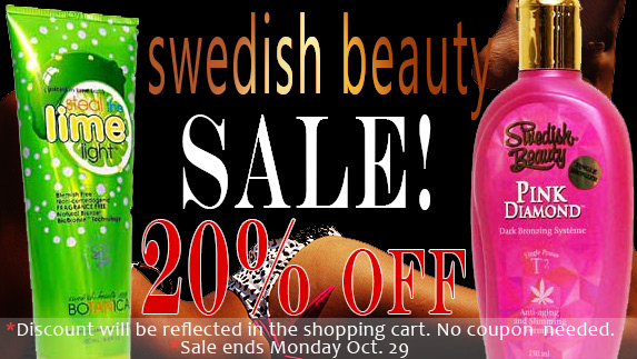 Save 20% on all Swedish Beauty Tanning Lotions